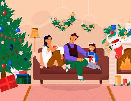 Parents give gift to daughter, celebrating New Year Illusztráció
