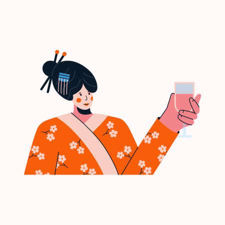 Portrait of woman in traditional geisha costume raising glass