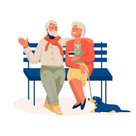 Elderly couple sitting on bench, resting in city park Illusztráció