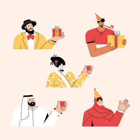 Multicultural people celebrating holiday or birthday set