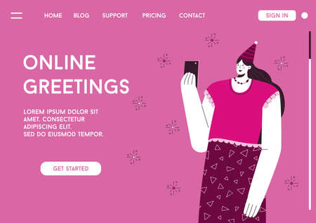 Vector landing page of Online Greetings concept