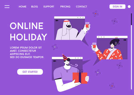 Vector landing page of Online holiday concept Illusztráció