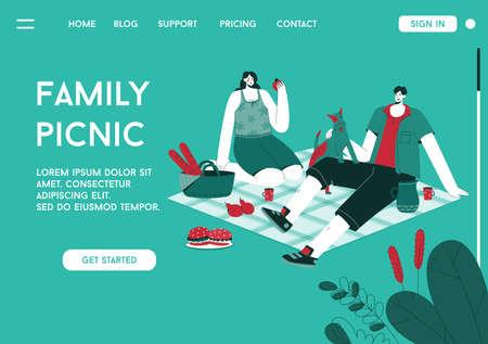Vector landing page of Family Picnic concept Illusztráció