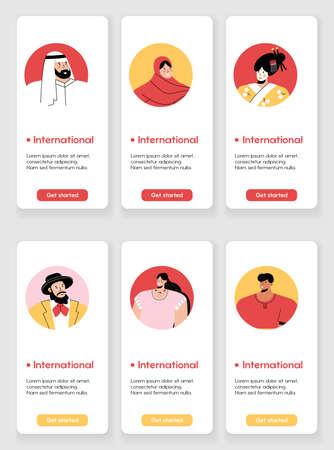 Template design for mobile app page with International concept Illusztráció