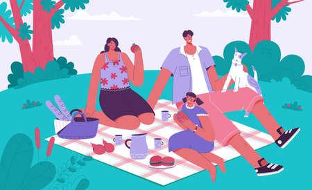 Family spending time at picnic concept Illusztráció