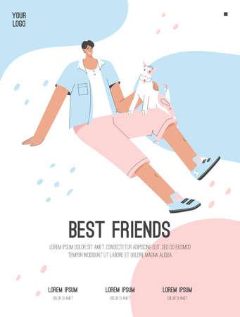 Vector poster of Best Friends concept. Happy guy sitting with dog Illusztráció