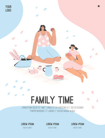 Vector poster of Family Time concept. Mother and daughter at picnic