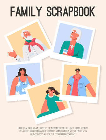 Vector poster of Family Scrapbook concept