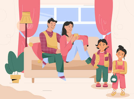 Family in living room together. Childhood, parenting
