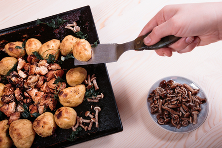 fried potatoes: Fried potatoes with chicken and mushrooms on a pink background.
