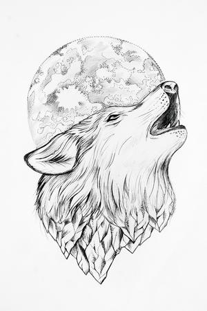 달 흰색 배경에서 짖는 늑대의 스케치입니다.