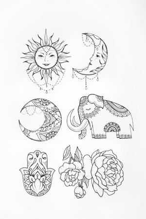 indium: Sketch of elephant sun flower moon white background.