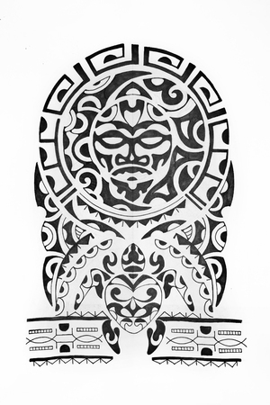 Sketch in the style of Polynesia on a white background.