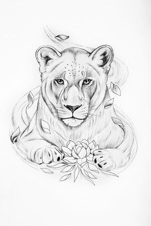 Schets van leeuw met een lotus op een witte achtergrond.