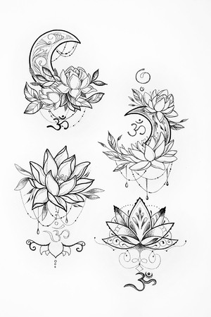 buddha lotus: Sketch of a lotus and moon on a white background. Stock Photo