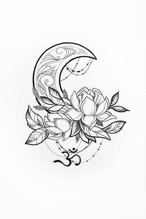 om: Sketch of a lotus and moon on a white background. Stock Photo