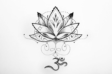 Sketch lotus and om signs on white background.