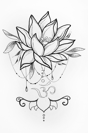 sanskrit: Sketch lotus and om signs on white background.