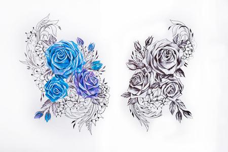 Schets twee sets van rozen op een witte achtergrond. Stockfoto