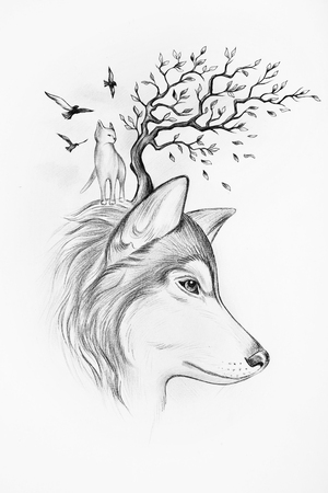 Sketch Huskies tree and cats on white background.