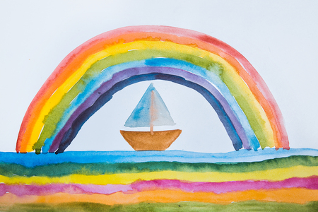 Childrens drawing depicting a beautiful rainbow and boat.