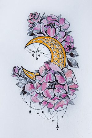 Sketch of the moon with flowers on a white background.