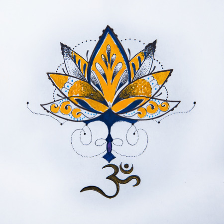 om: Sketch lotus and om signs on a white background.
