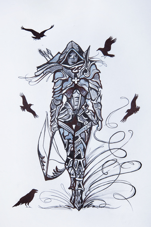 Sketch of the assassin on a white background.