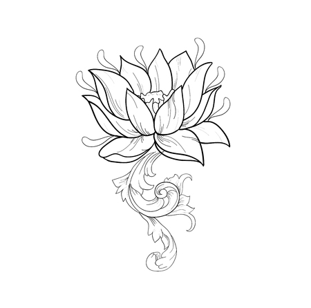 Graphic sketch of lotuses in ornament on a white background. Illustration