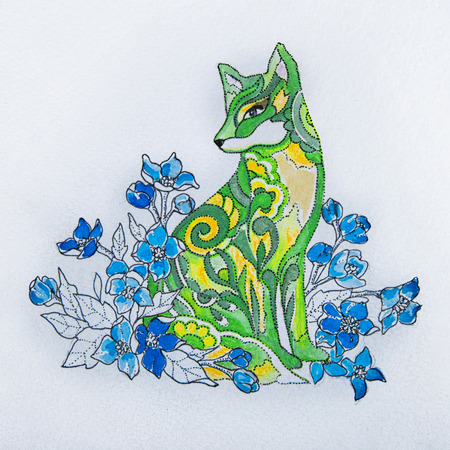 Sketch foxes in the flowers on a white background.