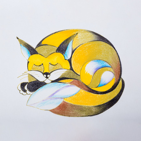 Sketch of a fox which curled up and asleep.