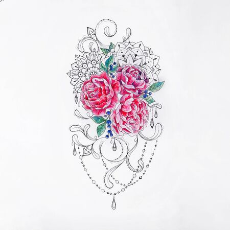 Sketch of beautiful bouquet peonies on white background.