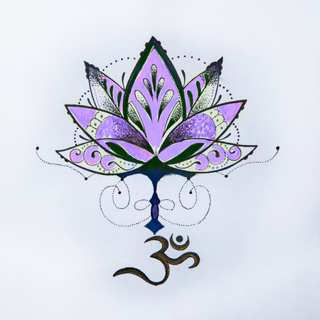sanskrit: Sketch lotus and om signs on a white background.