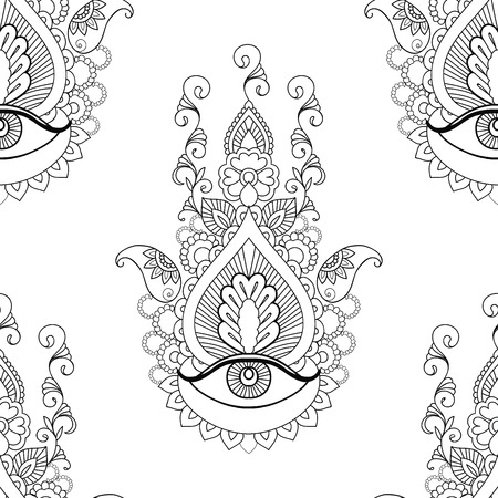 third eye: Seamless beautiful hamsa on white background.
