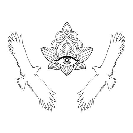 Seamless pattern of an eagle and the third eye on a white background.