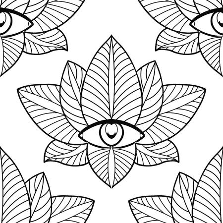 Seamless lotus and third eye on a white background.
