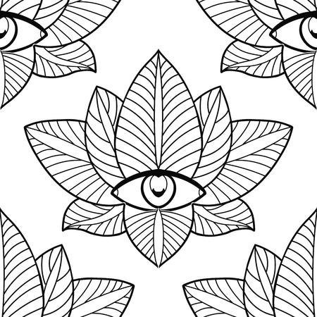 third eye: Seamless lotus and third eye on a white background.