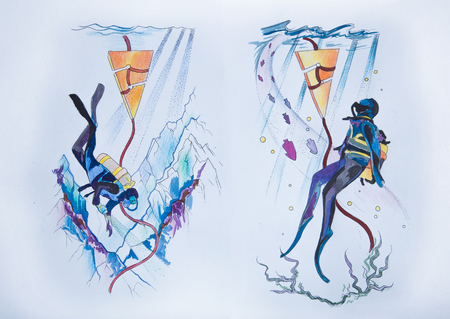Sketch of deep-sea divers on a white background.