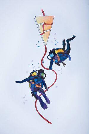 deepsea: Sketch of deep-sea divers on a white background.