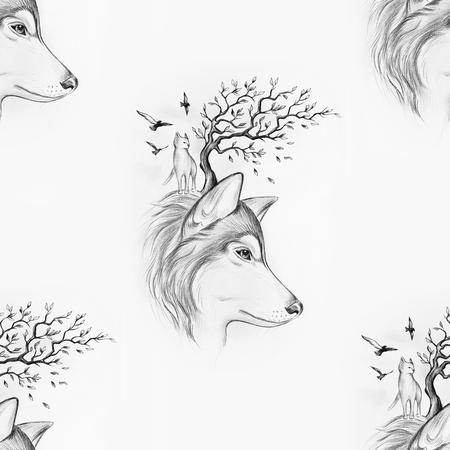 Dibujo Inconsútil De Un Lobo Que Grita En La Luna En Un Fondo Blanco