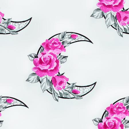 白地に花のシームレスな三日月形の模様。