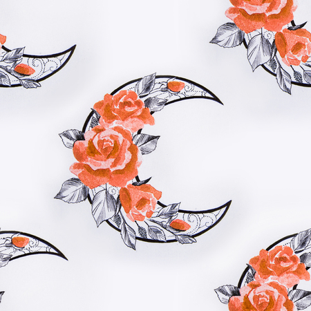 Seamless crescent pattern in flowers on a white background. Stock Photo