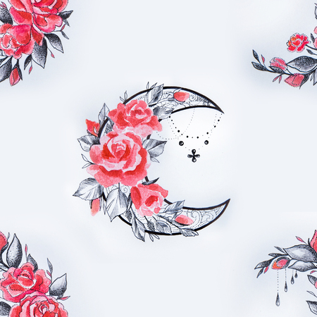 Seamless pattern crescent in flowers on a white background. Stock Photo