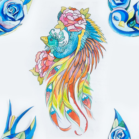 plume: Seamless pattern of a peacock and a blue bird on a white background.