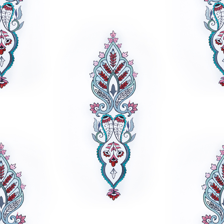 Seamless pattern of beautiful decorations on a white background.