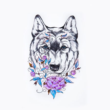 A sketch of wolf head and purple peony on white background.