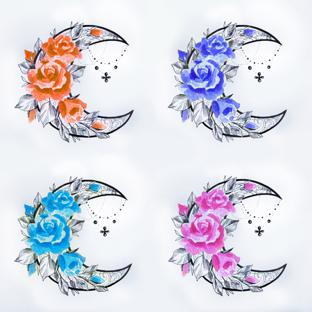 afterglow: Set of a sketch of a crescent in flowers on a white background. Stock Photo