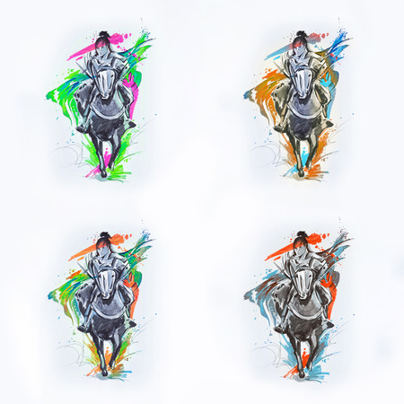 A set of sketches of a Japanese rider on a white background.
