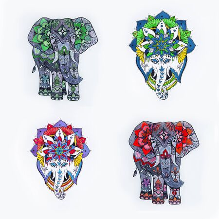 Set of elephant sketches with floral patterns and mandala on a white background.
