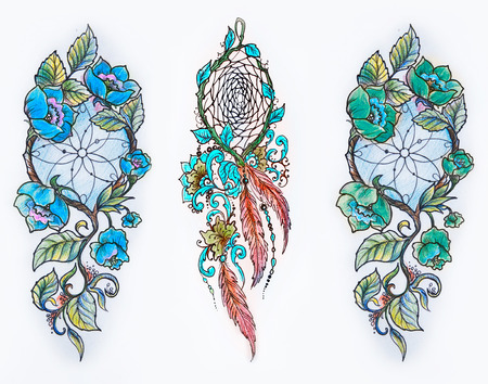 Set of sketches of multicolored dreamcatchers in flowers on a white background. Stock Photo
